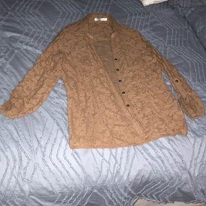 Camel lace blouse